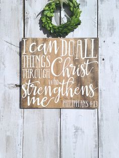 I can do all things through Christ who strengthens me, Philippians Bible verse wall art, scripture sign, Bible verse wood, Farmhouse Bible Verse Signs, Bible Verse Wall Art, Quote Art, Scripture Art, Scriptures, College Wall Art, College Walls, Diy Wall Art, Diy Wall Decor