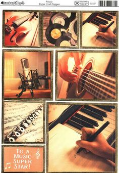 Kanban Interests and Hobbies - Music - die cut & foiled paper craft toppers