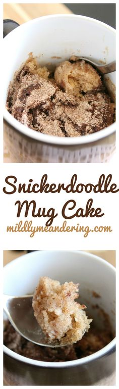 Snickerdoodle Mug Cake – In only one minute, you can have the perfect, personal snickerdoodle cake! So easy and delicious! (Mug Cake Recipes) Mug Recipes, Best Dessert Recipes, Cupcake Recipes, Easy Desserts, Delicious Desserts, Yummy Food, Steak Recipes, Drink Recipes, Recipies