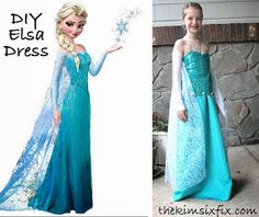 The Kim Six Fix: DIY Elsa Dress (From Frozen) LOVE the sleeves from footless tights...GENIUS!