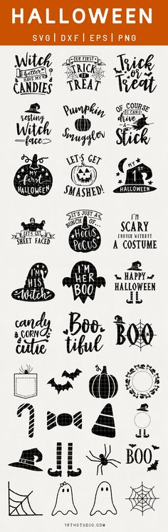 Halloween SVG Bundle is great for DIY Halloween decor, Halloween t-shirts, handmade cards or any other vinyl decal project with Cricut or Silhouette machines! by agnes Diy Halloween Decorations, Fall Halloween, Halloween Crafts, Halloween Cupcakes, Halloween Sayings, Halloween Designs, Halloween Shirt, Cricut Ideas, Free Font Design