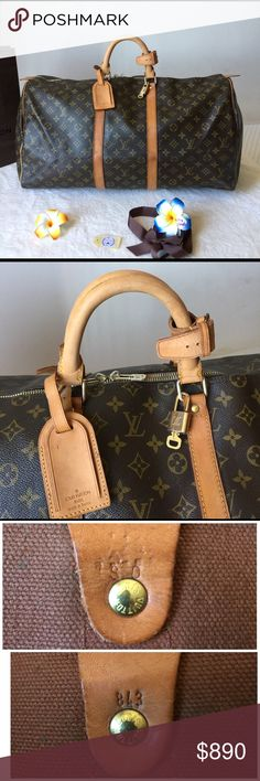 """🌺AUTHENTIC USED LV KEEPALL 55 TRAVEL/DUFFLE BAG💼 Pre-Owned Authentic Louis Vuitton Keepall 55 Travel Duffle. It's perfect for travel companion This classic Keepall features the iconic monogram canvas leather In Great Conditions, I took a photos with natural light Pls,refer all of pics Date Code: SD843 Made in France Size: W21.7""""x H12.2""""xL9.4""""(inch)Handle drop: 6.5inch Accessories:Handles Roll/Lock&Key/Name Tags 👉Smoke&Pets pets free 🏡 🤝Welcome reasonable an offers (use offer box) ❌NO…"""