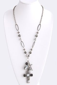Charm pendant cross necklace. Love.  https://www.krisandkate.com/dealoftheday.html#