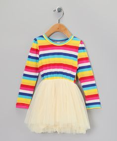 Take a look at this Yellow & Blue Stripe Tutu Dress  - Infant, Toddler & Girls on zulily today!