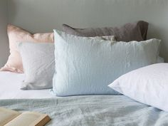 Our Lazy bed linen is made from crushed Belgian linen and no ironing is needed! Linen Bedding, Bed Linen, Bed Pillows, Pillow Cases, Bedroom, Lazy, Inspiration, Home, Design