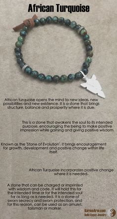 Known as the 'Stone of Evolution', it brings encouragement for growth, development and positive change within life itself.  African turquoise opens the mind to new ideas, new possibilities and new existence. It is a stone that brings structure, balance and prosperity where it is due.   New Possiblities: African Turquoise Yoga Mala Bead Bracelet