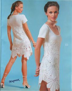 white t-shirt changed into crochet dress