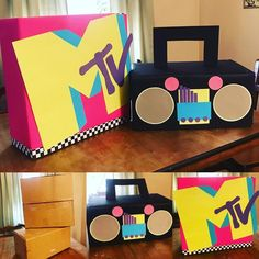 party decorations Mtv and Boom Box party decorations for theme party. Made from old boxes and colored paper. 90s Theme Party Decorations, Disco Theme Parties, 80s Birthday Parties, 80s Theme, Birthday Party Themes, 40th Birthday, 2000s Party, Colored Paper, Boxes
