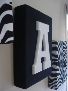 Zebra wall hanging wall decor with monogram initial> My daughter is obsessed with Zebra she will love these for her new room