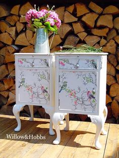 Example piece - now sold - Vintage renovated Queen Anne bedside tables, upcycled bedsides, painted side tables - Painted furniture, Decoupage Furniture, Hand Painted Furniture, Funky Furniture, Recycled Furniture, Refurbished Furniture, Paint Furniture, Furniture Makeover, Goodwill Furniture, Furniture Refinishing