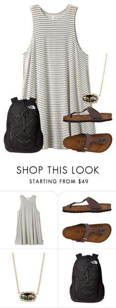 """Untitled #2374"" by laurenatria11 ❤ liked on Polyvore featuring RVCA, Birkenstock, Kendra Scott and The North Face"