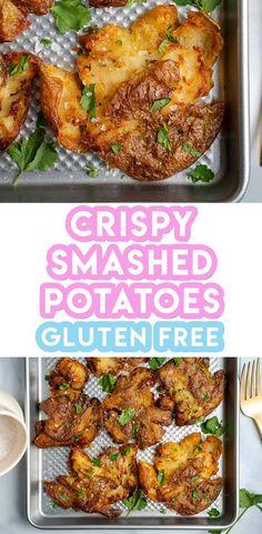 Crispy Smashed Potatoes Recipe with 3 Ingredients (vegan, low FODMAP) - Crispy Smashed Potatoes Recipe (vegan, dairy free, low FODMAP) - Golden Potato Recipes, Smashed Potatoes Recipe, Fodmap Recipes, Dairy Recipes, Low Fodmap, Fodmap Diet, Roast Dinner, Dairy Free, Gluten Free