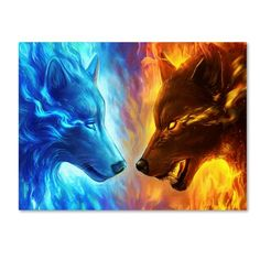Hot Offer Fire and Ice by JoJoesArt Tapestry Wall Hanging Blue and Yellow Beach Mat Animal Wolf Printed Sheets Decorative Tapestry Artwork Lobo, Wolf Artwork, Fantasy Wolf, Dark Fantasy Art, Wolf Wallpaper, Animal Wallpaper, Fire And Ice Wallpaper, Cute Animal Drawings, Cute Drawings
