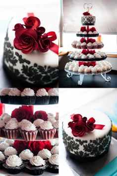 Black Damask And Red Roses Wedding Cake Cupcakes