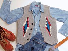 オルテガ 手織りチマヨ・ベスト 83RG-36294 サイズ36 ヘザーグレー ウール100% アメリカ製