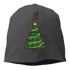 Caryonom Adult Christmas Tree Beanies Skull Ski Cap Hat Black ** Click image for more details.