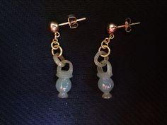 Vintage Chinese 14k  Translucent Jadeite Devil's Work Earrings Pierced Ears