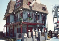 """Do you remember Ocean City's """"Morbid Manor""""? It first opened in 1975, and became one of the most memorable icons on the O.C. Boardwalk. It was unlike the current Haunted House, which is a """"ride-through"""" attraction. The Morbid Manor was a two story walk through experience, with live actors and real props! It's towering appearance and realistic façade scared visitors for many years! Unfortunately, the Manor burned to the ground in 1995, after being completely redone the year before."""