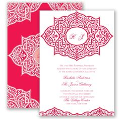 Our Indian Trellis invites, shown here in Poppy, are perfect for a summer wedding! #summerweddings #davidsbridal #invitations