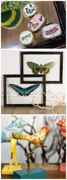 Beautiful butterfly, dragonfly and bird themed home decor! All at Earthbound Trading Co!