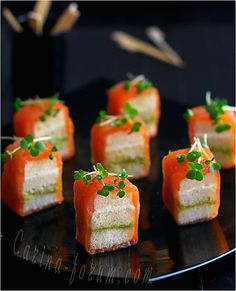 Mini sandwiches with smoked salmon