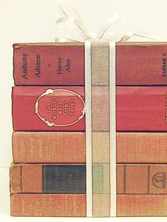 Red WeddingDecorative BooksWedding DecorVintage by beachbabyblues