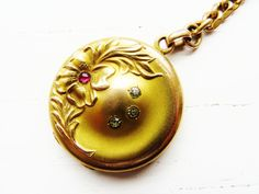 Antique Victorian Locket Ruby Diamond Paste Gold Locket Watch Fob Forget Me Not Monogrammed Mourning Locket 1800s Antique Jewelry
