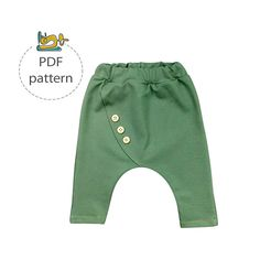 This is a sewing pattern and tutorial for a childs harem pants in size range: 62 (0-3 months) to 110 (4-5 years). These fancy harem pants feature skinny leg and fake front closer. They are baggy and super comfy for the little crawlers and runners. These pants are a quick sew with a