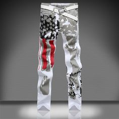>> Click to Buy << 2017 New Arrival USA Flag Printed White Jeans Men Casual Summer Autumn Fashion Trend Pentagram Denim Pants Men Loose #Affiliate