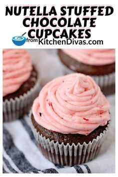 Nutella Stuffed Chocolate Cupcakes are rich, moist, decadent, and an easy chocolate filled cupcake recipe with fresh strawberry buttercream frosting! Best Dessert Recipes, Cupcake Recipes, Delicious Desserts, Easy Recipes, Recipes Dinner, Dessert Ideas, Healthy Recipes, Best Chocolate Cupcakes, Chocolate Dipped Fruit