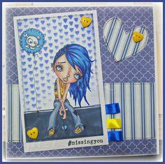 Oddball Art Stamps Blog Challenge - For You Blue