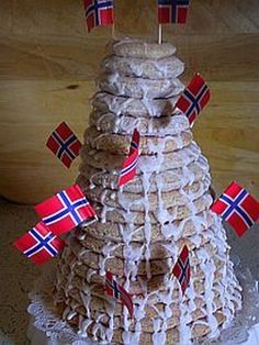 This step-by-step guide illustrates how to make a delicious Kransekake, the Norwegian almond ring cake. The towering cake is used for major celebrations. Norwegian Wedding, Norwegian Food, Norwegian Recipes, Scandinavian Food, Scandinavian Christmas, Norwegian Christmas, Ring Cake, Almond Paste, Traditional Cakes