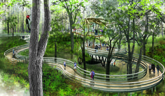 Trees and Trails Tree House visualization at Burden Woods, LSU - Didier Design Studio