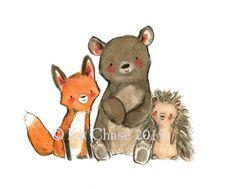Cute illustrations - Kinder KunstWOODSIE vriendenArchief Print door trafalgarssquare
