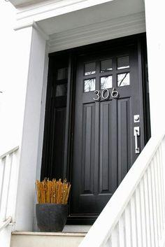 black front door w/top window