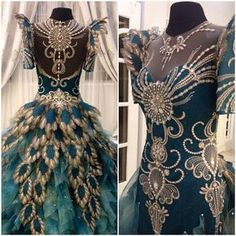 For Eliza's Peacock dress. Change the sleeves, darken to a rich emerald, have gold beading and blue and green feathers coming down the back and it's perfect. :)