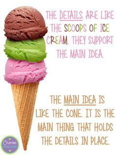 Learning about main idea and supporting details is FUN when you use the ice…