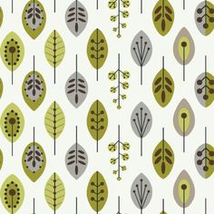 Leaves Wallpaper - White/Lime/Brown.  I think it is repositionable wallpaper.