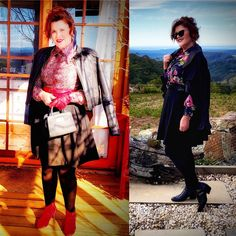 Styling my 70's Vintage Blouses! 🥰🤗💕 · Donna Does Dresses Fast Fashion, Fashion Wear, Short Leather Jacket, Red Belt, Cute Jackets, Blouse Vintage, Pin Up Style, Black Tights, My Wardrobe