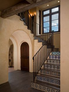 Floor Tiles Stairs Decor  for Your House Remodel Ideas: Mediterranean Staircase With Rustic Floor Tiles Stairs ~ parsegallery.com Decorating Inspiration