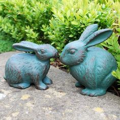 Mr & Mrs Rabbit Ornament Pair In Verdigris Finish Cast Iron Animal Garden Ornaments, Rabbit Garden, Animal Design, Traditional Design, Garden Inspiration, Cast Iron, Garden Sculpture, Garden Design, Outdoor Decor