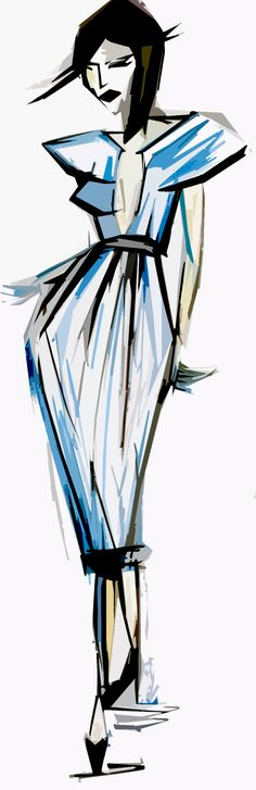 Chic and sophisticated structured blue dress, fashion illustration