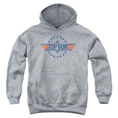 """Checkout our #LicensedGear products FREE SHIPPING + 10% OFF Coupon Code """"Official"""" Top Gun / Star Logo-youth Pull-over Hoodie - Heather - Top Gun / Star Logo-youth Pull-over Hoodie - Heather - Price: $49.99. Buy now at https://officiallylicensedgear.com/top-gun-star-logo-youth-pull-over-hoodie-heather"""