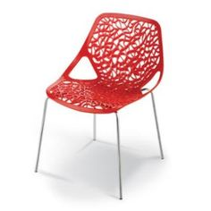 The dainty Lace Chair is hardwearing and perfect for indoor or outdoor use. The Lace Chair is made out of ABS plasticmoulded into an intricate lace pattern and set on a chrome frame. The Lace Chair comes in three colours: red, white and black.