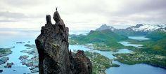 "Svolværgeita, ""The Svolvær Goat"" in the Lofoten Islands, Norway #lofoten #norway #climbing"