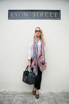 Bold scarf, easy pieces.