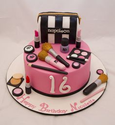 Enticing Makeup Cake – Box of Cake Luxury Make Up Cake Girly Cakes, Fancy Cakes, Make Up Cake, Let Them Eat Cake, Sweet Sixteen, Mac Cake, Online Cake Delivery, Sweet 16 Cakes, My Birthday Cake