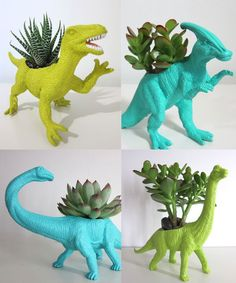 Dinosaur planters - would be great in a kids room! Cacti And Succulents, Potted Plants, Indoor Plants, Succulent Planters, Succulent Garden Ideas, Indoor Herbs, Cacti Garden, Indoor Gardening, Hanging Planters