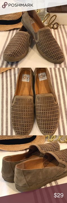 Dolce Vita Eyelet Perforated Flats, Loafer Style Unique Dolce Vita flats. Loafer style slip ons with fun eyelet perforated cut outs on the foot. Worn twice and just collecting dust (figuratively 😉). They are a tan, putty, somewhat gray toned color. Feel free to ask questions! I want you to love your purchase!! My rule is if I haven't worn it in over a year, it's time to let someone else love it.............. This is part of my huge home closet clean out this weekend, bundle and make me an…