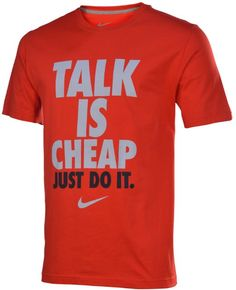 "Amazon.com: Nike Men's ""Talk Is Cheap Just Do It"" Graphic Shirt-Red/Gray/Black-XL: Clothing"